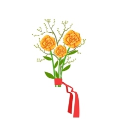 Orange Roses Flower Bouquet Tied With Red Ribbon vector