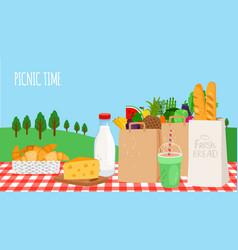 outdoor breakfast picnic vector image