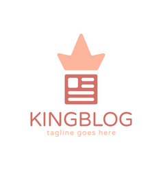 paper and crown abstract logo design for blogger vector image