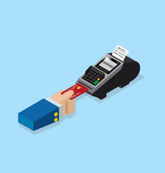 Payment by credit card with pos terminal vector