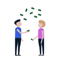 people catch falling money icon vector image