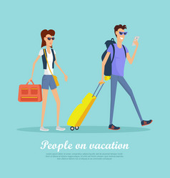 people on vacation conceptual flat banner vector image