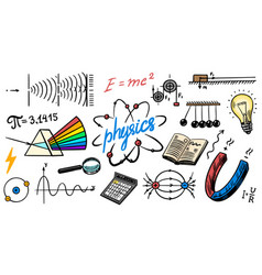 Physics or education concept icons and formulas vector