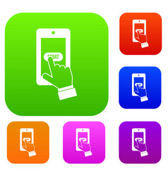 playing games on smartphone set collection vector image
