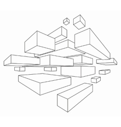Rectangular shapes in two point perspective vector image