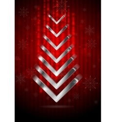 Red Christmas greeting background with silver fir vector