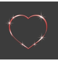 Red heart sparkly Glittering outline tape vector