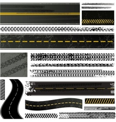 Road and tire tracks vector