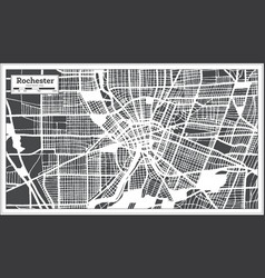 Rochester usa city map in retro style outline map vector