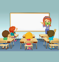 Scene with teacher and many students in classroom vector