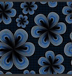 seamless pattern with blue tiare dot flower vector image