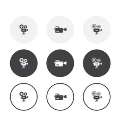 set 3 simple design video camera icons rounded vector image