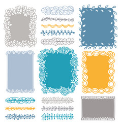 Set doodle colored borders isolated on white vector