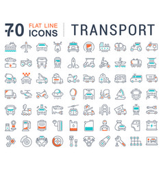 Set flat line icons transport vector
