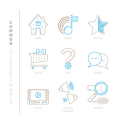 Set of common website icons and concepts in mono vector