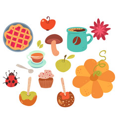 Set of cute autumn food vector