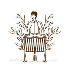 Silhouette man with congas and branches and vector