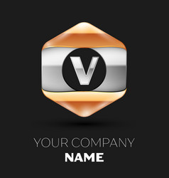 Silver letter v logo in silver-golden hexagonal vector