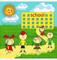 Small group of children near the school vector image