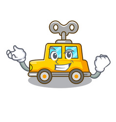Successful cartoon clockwork toy car in table vector