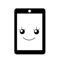 Tablet device kawaii character vector