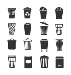 Trash can waste basket and bin garbage vector