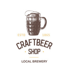 vintage style beer shop label badge emblem logo vector image