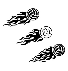 Volleyball ball flaming logo design vector