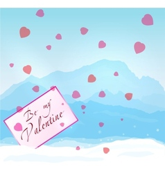 W inter mountains Valentine vector