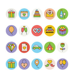 Wedding Colored Icons 1 vector