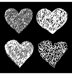 White sketched hearts set on black background vector