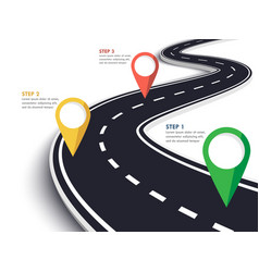 winding road on a white isolated background road vector image