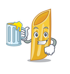 With juice penne pasta character cartoon vector