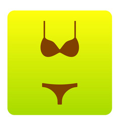 women wimsuit sign brown icon at green vector image