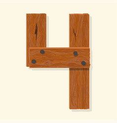 wood number wooden plank numeric font held vector image