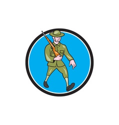 World War One Soldier British Marching Circle vector image