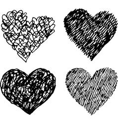 Black sketched hearts set vector image