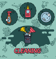 cleaning flat concept icons vector image vector image