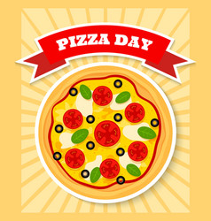 margherita pizza day vector image vector image