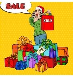 Pop Art Woman with Shopping Bag Christmas Sale vector image