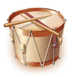 Traditional drum isolated on white background vector image vector image