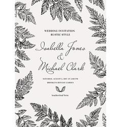 Vintage wedding invitation in a rustic style vector image