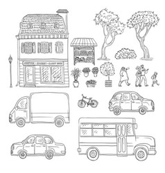 black and white set of sketch vector image vector image