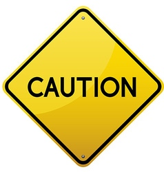 Caution yellow road sign vector image