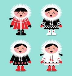 cute eskimo kids vector image vector image