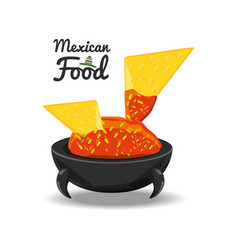 nachos with sauce traditional mexican cuisin vector image