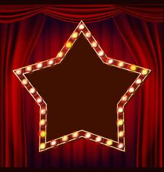 retro star billboard red theater curtain vector image