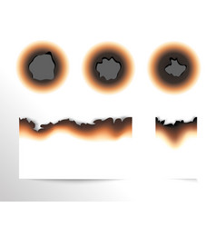 set of scorched piece of paper and burnt holes on vector image