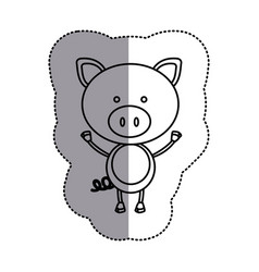 silhouette teddy pig icon vector image
