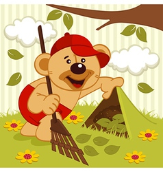 teddy bear sweeps lawn vector image